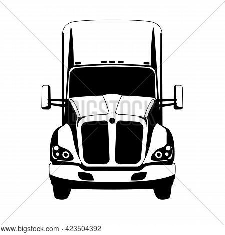 Semi Truck, Vector Illustration,flat Style, Front View