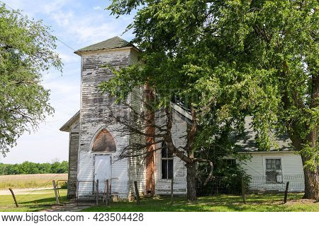 Abandoned Rural Village Countryside Church Worship Building Boarded Up And Empty