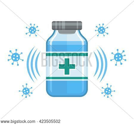 Medical Vaccine Vial Sign. Medicine Bottle For Covid-19 Injection. Ampoule Dose Liquid Drug. Clinica
