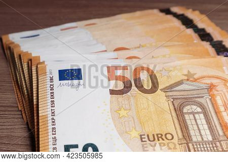 Stack Of Fifty Euro Banknotes. Soft Focus