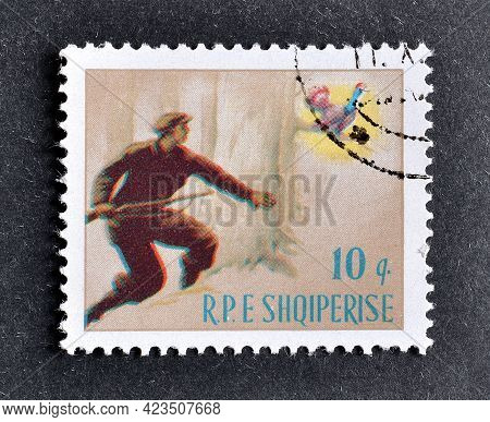 Albania - Circa 1964 : Cancelled Postage Stamp Printed By Albania, That Shows Hunter And Western Cap