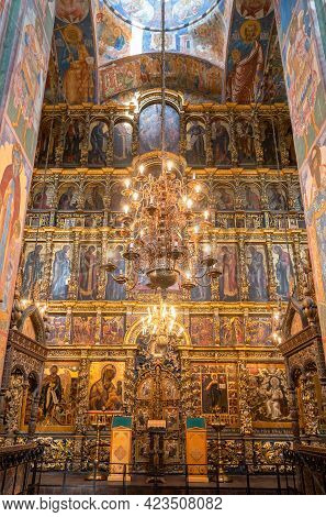 Yaroslavl, Russia - May 13, 2019: Interior Of The Church Of Elijah The Prophet Of The 17th Century.