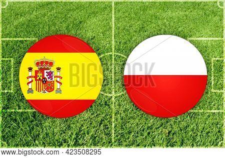 Concept for Football match Spain vs Poland
