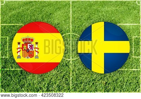 Concept for Football match Spain vs Sweden