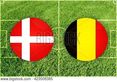 Concept for Football match Denmark vs Belgium