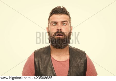 What Is On My Nose. Fashion Trend Beard Grooming. Emotional Face Expression. Hipster Mature Guy With