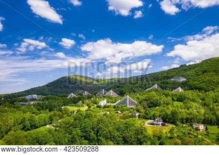 Scenery of the town and health resort in Ustron on the hills of the Silesian Beskids. Poland