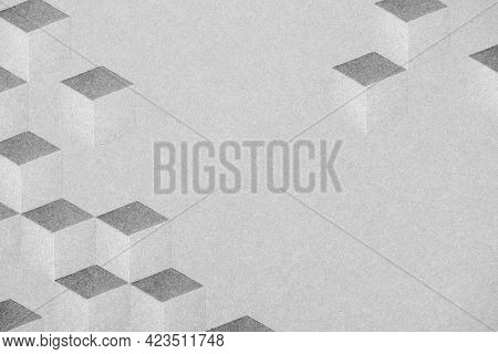 Gray cubic border patterned background