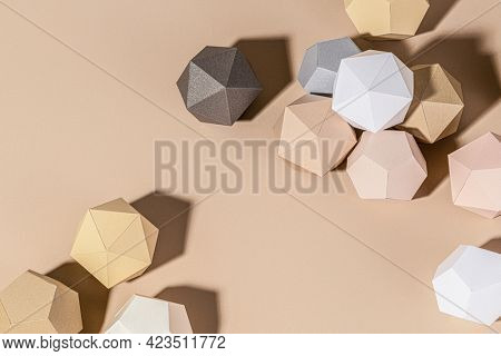 3D beige diamond shaped paper craft background design