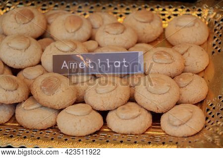 Traditional Biscuits  In Confectionery Shop Window In Barcelona. Almond Sugar Cookies. Text On Label