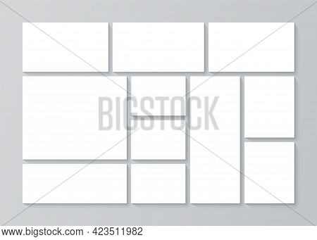 Moodboard Template. Photo Collage Grid. Vector. Mood Board Design. Mosaic Pictures On Background. Ba