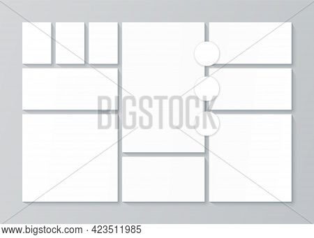 Photo Collage Template. Moodboard Layout. Vector. Pictures Grid. Banner With Mosaic Frames. Mood Boa