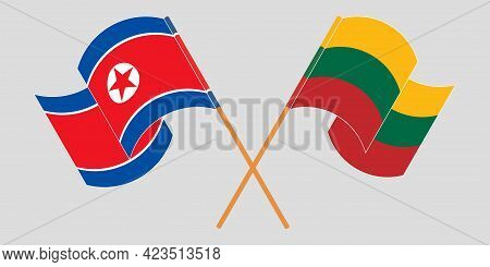 Crossed And Waving Flags Of North Korea And Lithuania
