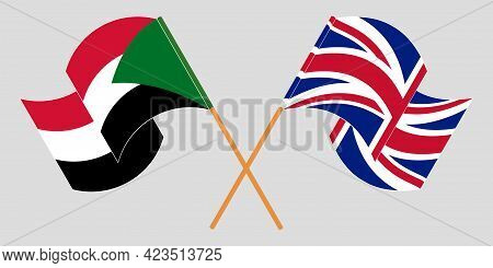 Crossed And Waving Flags Of Sudan And The Uk
