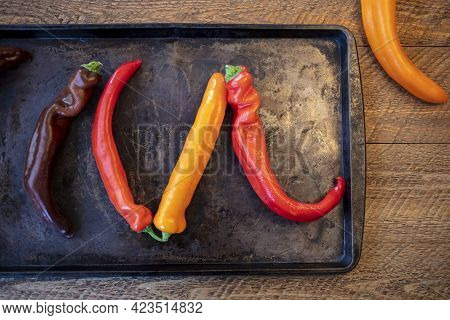 Colorul Poivron Peppers Being Prepped On A Wood Table For Roasting In The Oven