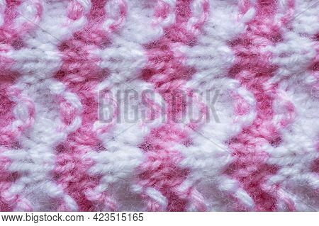 Pattern Of Pink Knitted Handmade Baby Clothes , Knit Pattern Background, Knitted Texture Backdrop