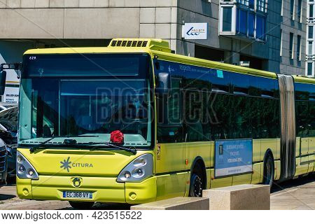 Reims France June 11, 2021 Bus Driving Through The Streets Of Reims During The Coronavirus Outbreak