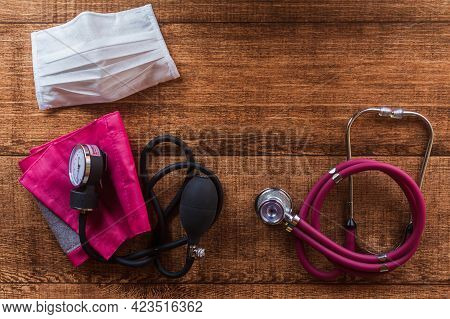 Pink Stethoscope, Equipment To Examine Respiration And Heartbeat, Blood Pressure Meter And Mask Of P