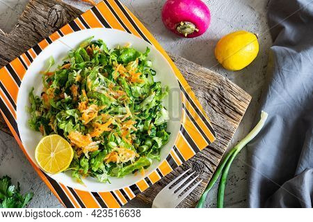 Finely Chopped Salad Concept, Carrots, Scallions, Radishes, Parsley And Lemon, Healthy Diet Food