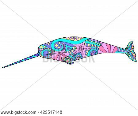 Narwhal - Vector Linear Full Color Illustration. Ocean Mammal Animal - Multicolored Narwhal With Pat