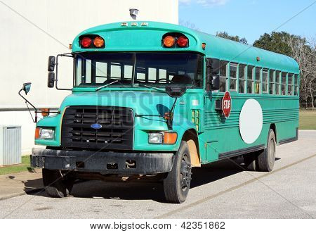 School Bus in Bright Teal Green