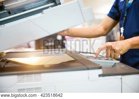 Copier Printer, Close Up Hand Office Man Press Copy Button On Panel To Using The Copier Or Photocopi