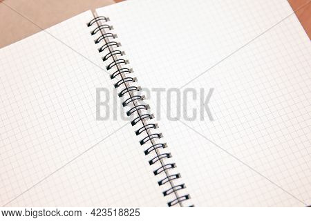 Close-up Notebook Or Note Book Diary On Top View Desk Or Boardroom Table For Meeting Notes.