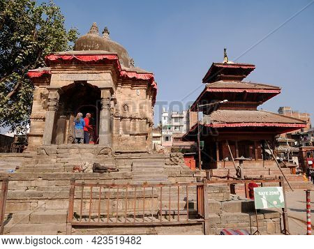Nepali People And Foreign Travelers Walking Travel Visit Ancient Ruins Antique Building And Respect
