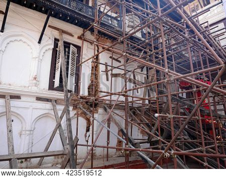 Nepalese Worker People Renovate Repair Build Scaffolding Structure At Ancient Ruins Antique Building