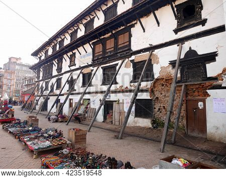 Nepali Worker People Renovate Repair Build Scaffolding Structure Ancient Ruins Antique Building Of H