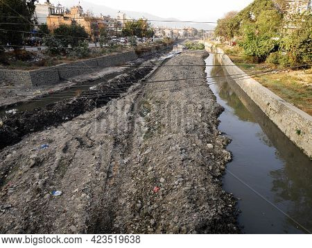 View Landscape And Cityscape With Water In Creek Canal Bishnumati River Evaporated Lost In Drought D