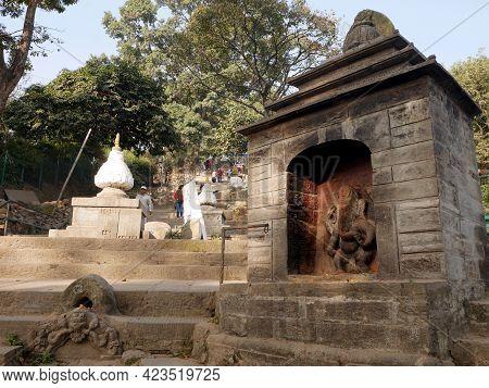 Ancient Antique Ruins Building Of Swayambhunath Pagoda Or Swoyambhu Stupa Or Monkey Temple For Nepal