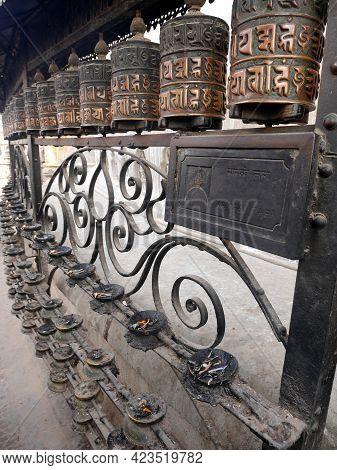 Prayer Wheels On Wall Of Hariti Shrine Or Ajima Hindu Temple At Swayambhunath Pagoda Or Monkey Templ
