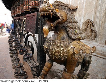 Sculpture Carving Lion Brass Guardian Figure Nepalese Style At Antique Building Of Swayambhunath Pag