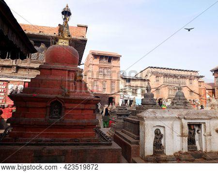 Small Stone Stupa Chedi At Swayambhunath Pagoda Or Swayambu Or Swoyambhu Or Monkey Temple For Nepali