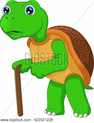 Cartoon Old Turtle Walking With A Stick On White Background