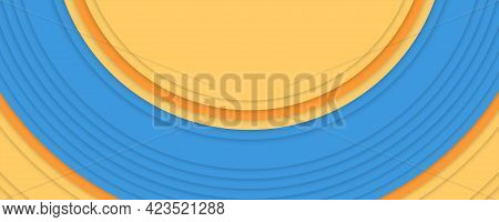 Concentric Circles Blue And Orange Colors. Abstract Background. Simple Color. Minimalistic Design. V