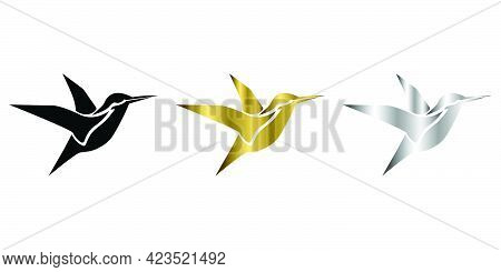 Three Color Black Gold Silver Vector Illustration On A White Background Of Flying Hummingbirds Suita