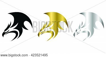 Three Color Black Gold Silver Vector Logo Of Phoenix It Shows Power And Strength
