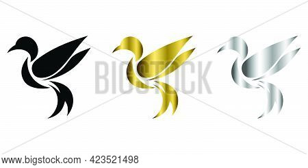 Three Color Black Gold Silver Vector Illustration On A White Background Of Flying Hummingbird Suitab
