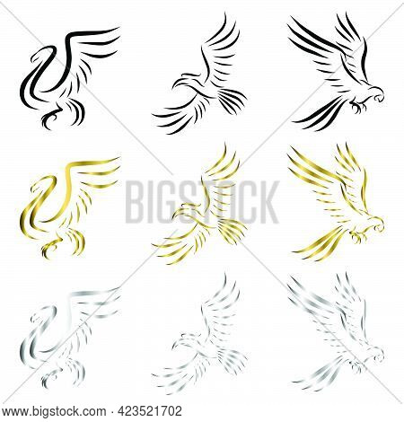 Set Of Line Art Vector Logo Of Three Kinds Of Birds Flying There Are Swans Macaws And Hornbills Can