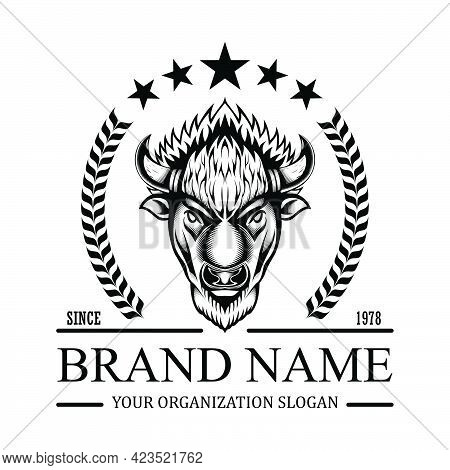American Bison Buffalo Logo In Classic Elegance Engraving Style Vector Emblem For Your Corporate Ide