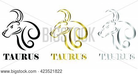 Line Vector Illustration Of Bull It Is Signs Of The Taurus Zodiac Three Tree Color Black Gold Silver