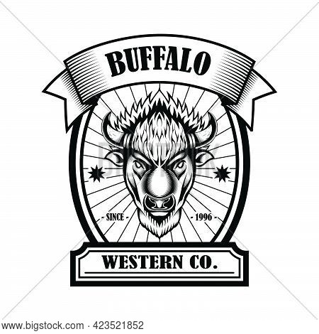 American Bison Buffalo Logo In Classic Elegance Engraving Style. Vector Emblem For Your Corporate Id