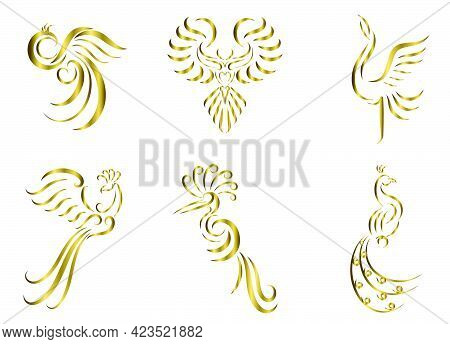 Set Of Six Gold Line Art Vector Images Of Various Beautiful Birds Such As Pheasant Peacock Crane Pho