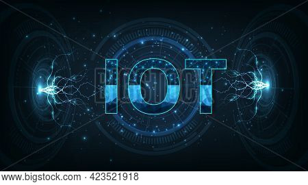 Internet Of Things(iot) Concept. Iot Design On Dark Blue Background.communication Technology And  In