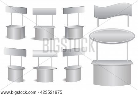 Set Of Realistic Marketing Rack Isolated Or Promotional Stand Exhibition Or Booth Stand Desk Busines