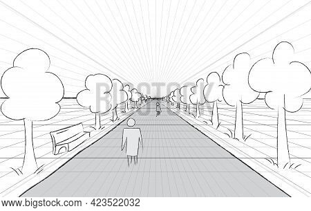 Horizon Road Perspective Example. Grid Background 3d Vector Illustration. Projection Template. Line