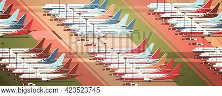 Airport Terminal With Parked Airplanes At Taxiway Coronavirus Pandemic Quarantine Covid-19 Concept