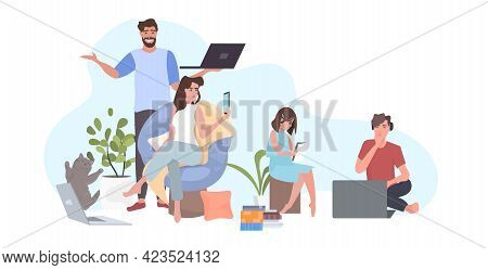 Happy Family Spending Time Together During Coronavirus Pandemic Quarantine Self Isolation Concept